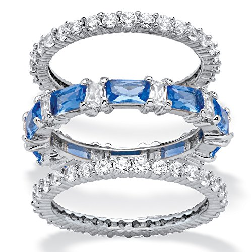 (Palm Beach Jewelry Platinum-Plated Emerald Cut Simulated Blue Sapphire and Cubic Zirconia Eternity Ring Set Size)