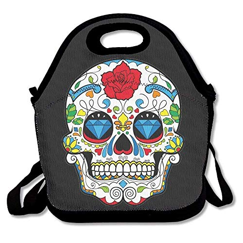HGDGF Variety Daily Red Colorful Sugar Skull New Flower Design Eyes Skull Head Halloween Day Of Dead Picnic Tourism Insulated Travel Picnic Lunchbox Modern Simple Pleasantly Surprised Handbag With Ac