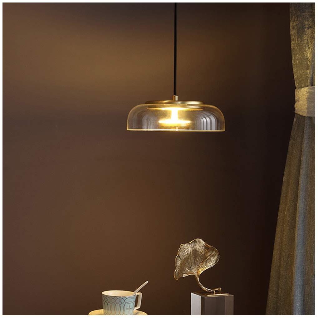 シャンデリアアメリカンペンダントライト吊りランプリビングルーム寝室レストランダイニング天井灯銅ガラス器具18センチ   B07T9LL2F5