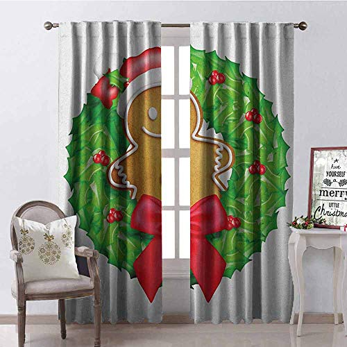 (Gloria Johnson Gingerbread Man 99% Blackout Curtains Cartoon Christmas Wreath with Gingerbread Man Funny Happy Season for Bedroom- Kindergarten- Living Room W100 x L84 Inch Green Red Pale Brown)