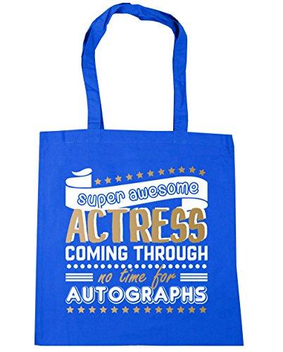HippoWarehouse Super Awesome Actress Coming Through No Time For Autographs Tote Shopping Gym Beach Bag 42cm x38cm, 10 litres Cornflower Blue