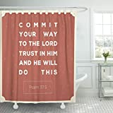 Breezat Shower Curtain Catholic Commit Your Way to the Lord Bible Verse for Encouragement Design Christ Waterproof Polyester Fabric 72 x 72 Inches Set with Hooks