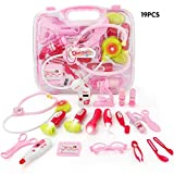 JoyGrow 19pcs Doctor Kit Toy Pretend and Play Medical Toys Set with Electronic Stethoscope for Boys and Girls, Pack in Carry Case Pink