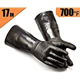 RAPICCA Griller BBQ Heat Resistant Insulated Cooking Gloves for Barbecue/Grill/Smoker/Fry Turkey/Pot Holder/Oven mitt/Baking, Waterproof Neoprene Coating with Textured Palms Long Sleeve (17-Inch)