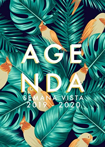Agenda 2019-2020 Semana Vista: Agenda 18 meses 2019-2020 semana vista español | julio 2019 - diciembre 2020 | horario | hojas de palma y aves ...