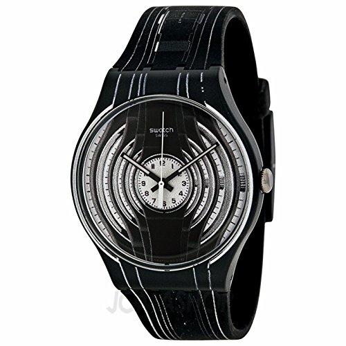Swatch SReloj Originales Éxito camino Negro y Blanco silicona Unisex Reloj SUOB106