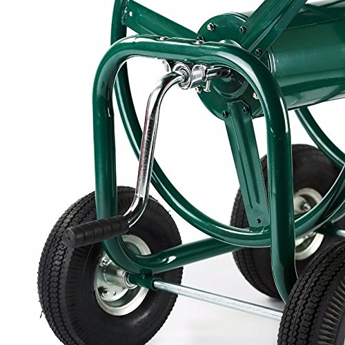 SKEMiDEX---Green Water Hose Reel Cart 300 FT Outdoor Garden Heavy Duty Yard w/ Basket Holds up to 300ft Hose diameter: 5/8? Foam-padded handle by SKEMiDEX