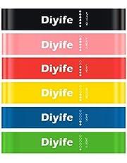 Diyife Bandas Elasticas Fitness, Set de 6 Cintas Elasticas Fitness para Yoga, Pilates, Danza, Fuerza, Estiramiento de Terapia y Ejercicio - Bolsa de Transporte Incluida