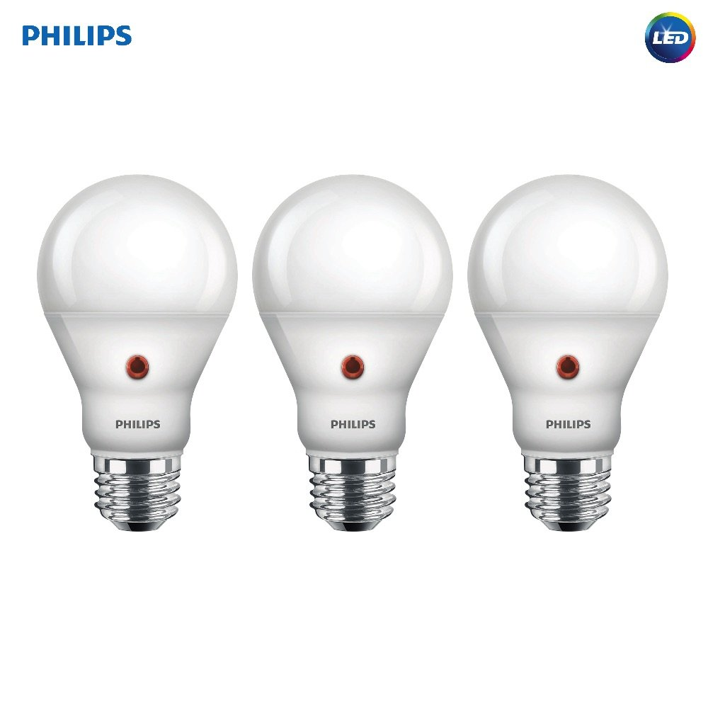 Philips LED Dusk to Dawn A19 Frosted Light Bulb 800 Lumen 2700 Kelvin 8 Watt 60 Watt Equivalent E26 Medium Screw Base Soft White 3 Pack