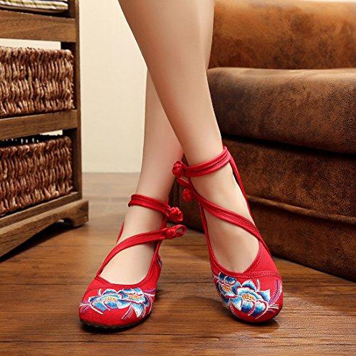 Jtengyao Kvinna Kinesisk Ankel Fäster Broderade Skor Sportskor Röd