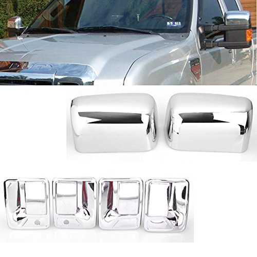 99Parts Chrome Side Door Handle + Upper Mirror Cover Set Fit for 2008-2016 Ford F-250 F-350 F-450 F-550 4DR Super Duty