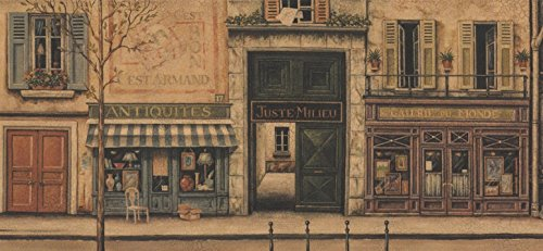 Retro French City Street Shops Vintage Wallpaper Border for Bathroom Living Room, Roll 15' x 6