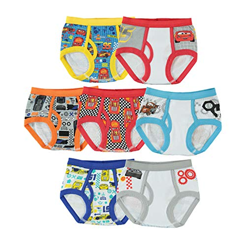 Handcraft Little Boys' Disney Cars 7 Pack Brief, Assorted, 4T (Toddler Boy Briefs 5t)