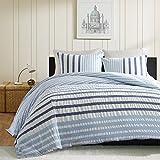 Ink+Ivy Sutton Teen Boys Duvet Cover Twin Size - Blue , Striped – 2 Piece Teen Boy Bedding – Cotton Lightweight Duvet Cover Set