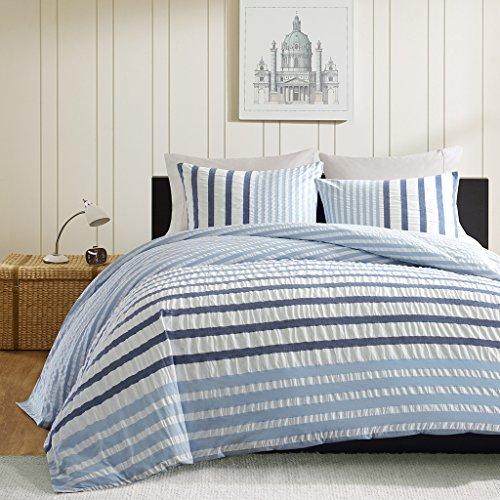 Ink+Ivy Sutton Teen Boys Duvet Cover Twin Size - Blue , Striped - 2 Piece Teen Boy Bedding - Cotton Lightweight Duvet Cover Set