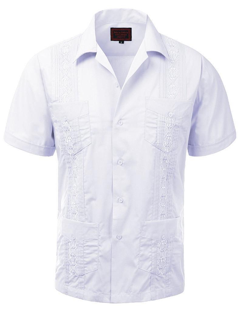 vkwear Guayabera Men's Cuban Beach Wedding Short Sleeve Button-up Casual Dress Shirt (Large, White)
