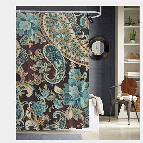 (Puloa Brown Turquoise Paisley Shower Curtains with 12 Hooks,Durable Mildew Bathroom Curtain 72