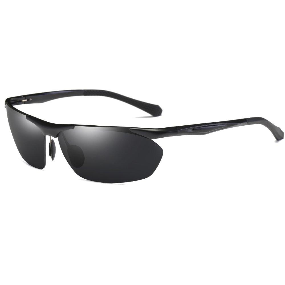 サングラス、男性用女性スポーツスタイルの偏光サングラス、釣りゴルフ用ドライブ、アルミニウムマグネシウムメガネ 8546  黒 B0758B8LKJ