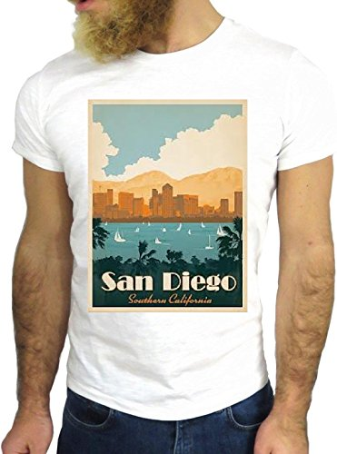 T-SHIRT JODE GGG24 Z1020 SAN DIEGO PHOTO LANDSCAPE AMERICA COLORS CARTOON GREAT BIANCA - WHITE XL