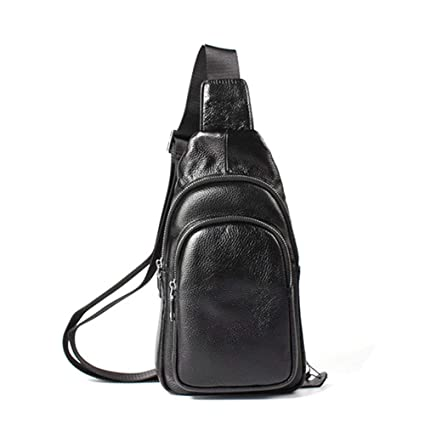 Ybriefbag Outdoor Sports Men Genuine Leather Chest Bag First Layer Cowhide Solid Color Leisure Shoulder Bags