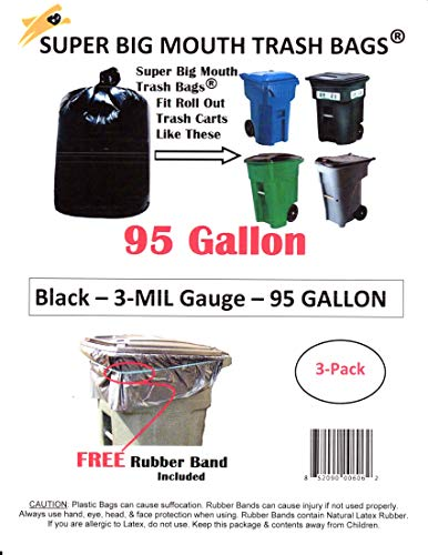 95 Gallon Super Big Mouth Trash Bags 3-Pack Plus 1 Free Rubber Tie Down Band from Super Big Mouth Trash Bags