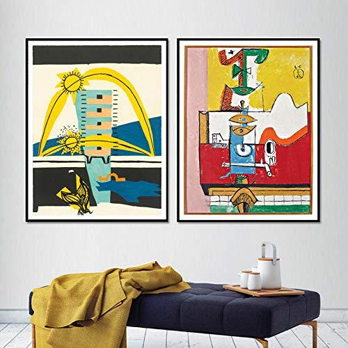 Le Corbusier Obras De Arte De La Lona Decoracion Sin Marco Arte Vintage Abstracto Pintura Surrealista Cubismo Pared Famosos Pintor Impresiones Inicio Cuadros Poster 40x50cmx2