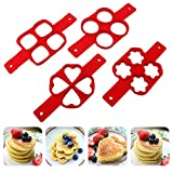 Flip Cooker Pancakes Mold, 2-Pack Nonstick Silicone Pancake Mold Maker Breakfast Pancake Shaper – Round and Heart Shape, Flower and Square (Round and Flower)