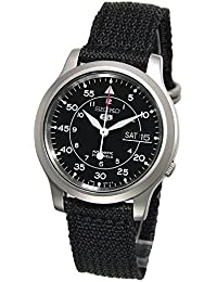 Mens SNK809 Seiko 5 Automatic Stainless Steel Watch with Black Canvas Strap