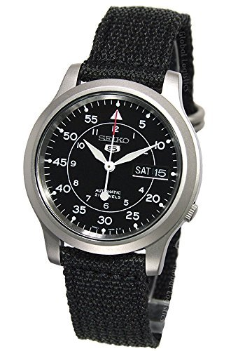 Seiko 5 Men's SNK809 Automatic Black Strap Black Dial Watch