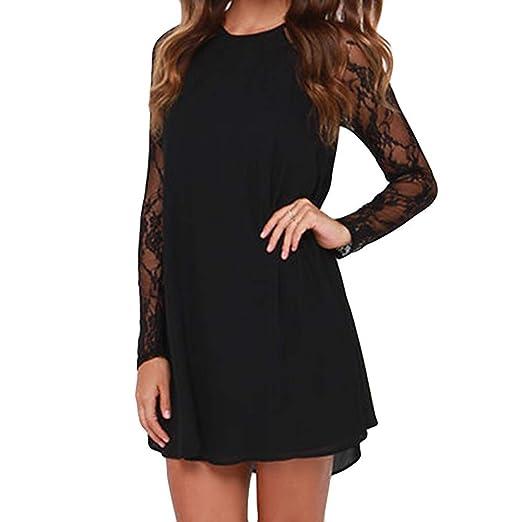 e0bbd7e08a6eb Chiffon Mini Dress,Connia Sexy Casual Loose O-Neck Lace Patchwork Long  Sleeve Dresses