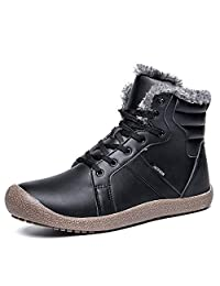 YIRUIYA Men's Waterproof Snow Boots with Fully Fur Lined Winter Warm Shoes