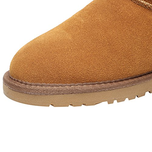 Camel Suede Boots Classic Warm Winter Shenn Mid Leather Snow Women's Calf xvpqCSwRF