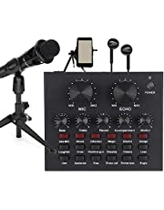 Akozon geluidskaart set 12 soorten geluidseffecten zinklegering microfoon karaoke mobiele computer live