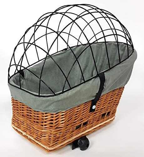 51zoH5jt1%2BL Tigana - Hundefahrradkorb für Gepäckträger aus Weide Natur 56 x 36 cm mit Metallgitter Tierkorb Hinterradkorb Hundekorb…