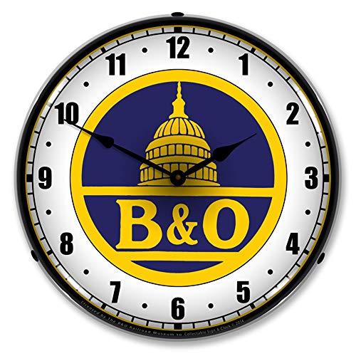 - B&O Railroad, Blue LED Wall Clock, Retro/Vintage, Lighted, 14 inch