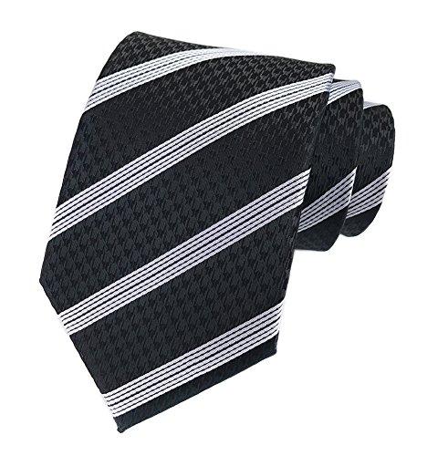 Men Boys Black and White Striped Tie Houndstooth Pattern Regular Wedding - Mens Stripes Necktie