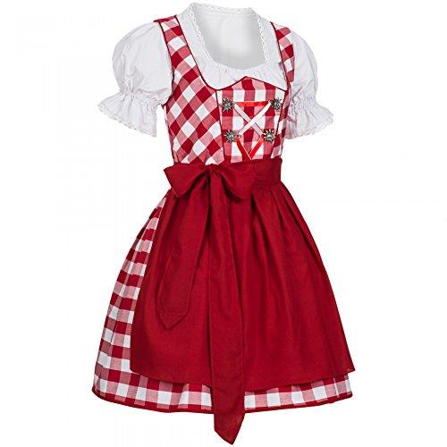 PAULGOS Dirndl + Bluse + Schürze 3-tlg Trachten Set Trachtenkleid Rot Marie, Größe Lederhose:44