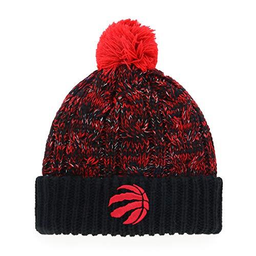 OTS NBA Toronto Raptors Female Brilyn Cuff Knit Cap with Pom, Black, Women's