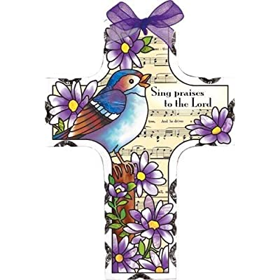 Joan Baker Designs Song Bird Sing Praises to the Lord Stained Glass Suncatcher (SX2025R) : Garden & Outdoor