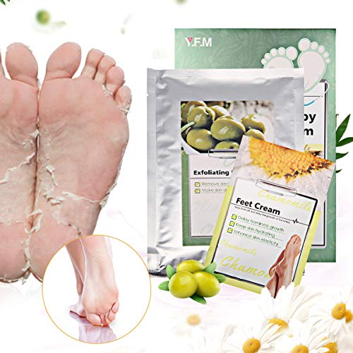 Foot Peel Mask-LuckyFine Foot Peeling Mask, Exfoliating Calluses and Dead Skin Remover,Repair Rough Heels, Get Soft Touch Foot in 1-2 Weeks(1 Pair Olive Feet Mask+1 Pcs Foot Cream Per Box)