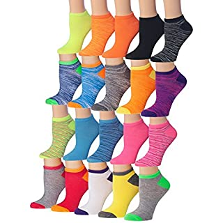 Tipi Toe Women's 20 Pairs Colorful Patterned Low Cut/No Show Socks, (sock size9-11) Fits shoe size 6-12, WL07-AB