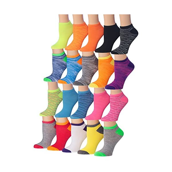Tipi Toe Women's 20 Pairs Colorful Patterned Low Cut/No Show Socks, (sock size...