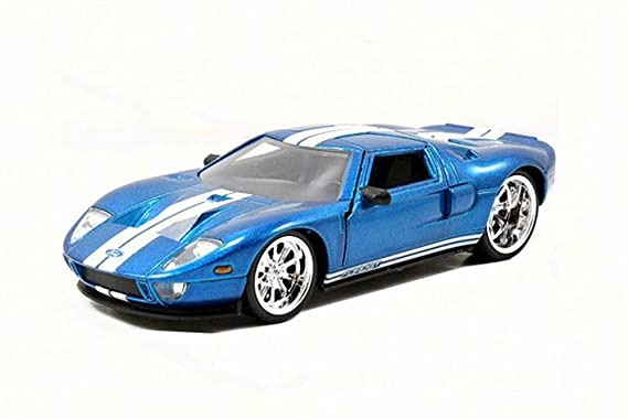 Amazon Com  Ford Gt Blue With White Stripes Jada Toys  Scalecast Model Toy Car Toys Games