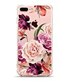[UPGRADED] iPhone 8 Plus Case, iPhone 7 Plus Case with flowers, Hepix Clear Floral Pattern Soft Flexible TPU Back Cover[5.5 inch]