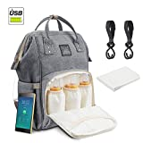 Diaper Bag Multi-Functional Waterproof Travel Baby Diaper Bag Backpack with USB charging port for baby care Large Capacity Fashion Durable Nappy Bag Best Gift for Mom&Dad Includes 1 Changing mat and 2 Hooks
