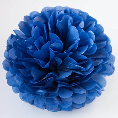 X-Sunshine 10pcs DIY 10inch 12inch Tissue Paper Flower Decoration Baby Girl's Room Paper Pom Poms Crafts Flower For Party Wedding Christmas Birthday (10, Sapphire blue) (Diy Tissue Pom Poms)