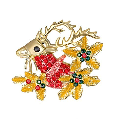 Myhouse Christmas Rhinestone Elk Shape Brooch Pin Badge Collectable Gift for Clothes Tie Hats Caps Bags Backpacks
