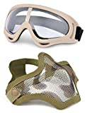 Tools & Hardware : OUTGEEK Airsoft Half Face Mask Steel Mesh and Goggles Set (Khaki set)