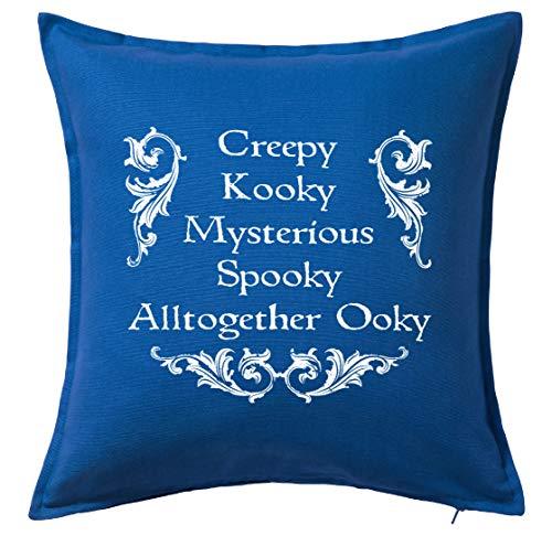 Tenacitee Creepy Kooky Mysterious Spooky Blue Throw Pillow Cover -