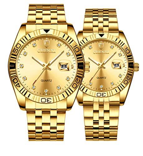 Couple Watches Dress Wrist Watch Golden Watch Men Women Stainless Steel Waterproof Quartz Watch Gift Set (8201 Gold)